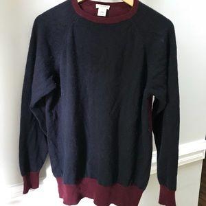 Demylee 100% cashmere navy sweater S M wine trim